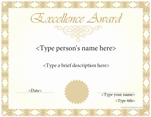Outstanding Achievement Award Template Fresh Special Certificates Award Template for Excellence