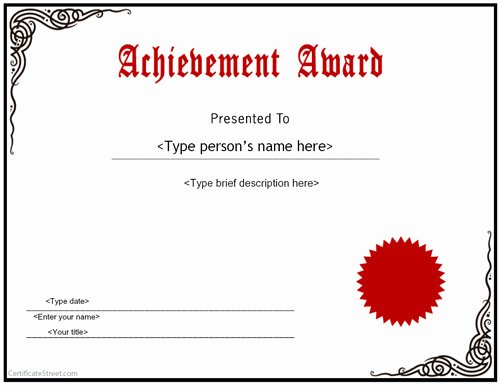 Outstanding Achievement Award Template Lovely Certificate Street Free Award Certificate Templates No