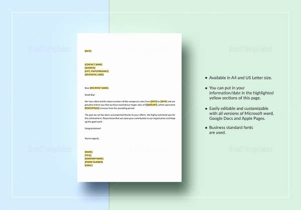 Outstanding Achievement Award Template Lovely Congratulations Letter Template 12 Free Word Document