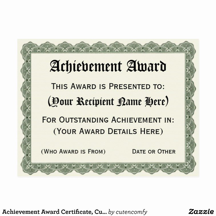 Outstanding Achievement Award Template Luxury Achievement Award Certificate Customized Fill In Postcard