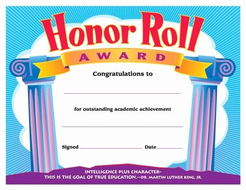 Outstanding Achievement Award Template Luxury Honor Roll Award Reward Your Students for their Special