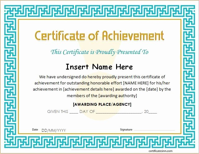 Outstanding Achievement Award Template New Best 20 Certificate Of Achievement Template Ideas On