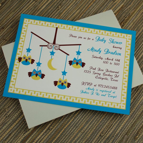 Owl Template for Baby Shower Beautiful Baby Shower Invitation Template Baby Boy Owl Mobile
