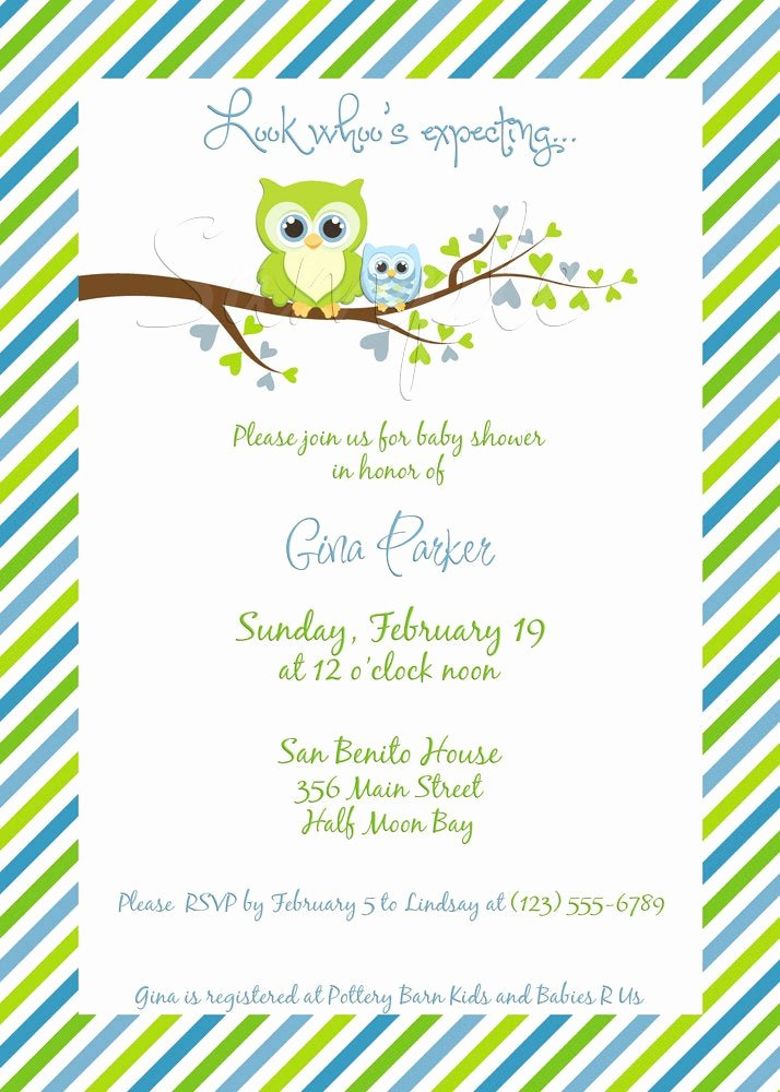 Owl Template for Baby Shower Best Of Gina Owl Baby Shower Invitation Boy Digital File You