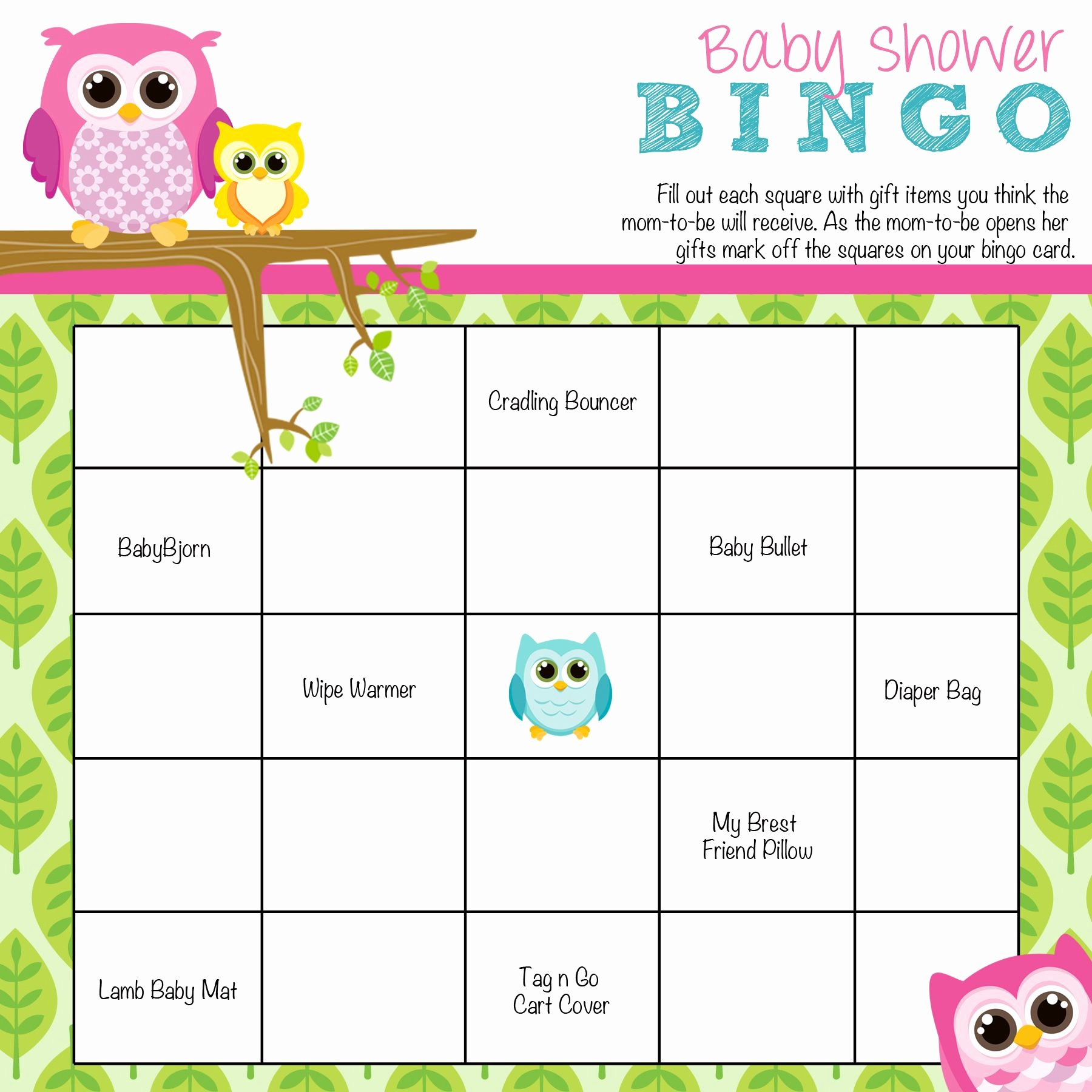 Owl Template for Baby Shower Elegant Owl Baby Shower Bingo Baby Shower