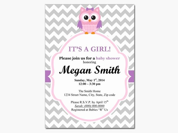 Owl Template for Baby Shower Luxury Owl Baby Girl Shower Invitation Diy Printable by