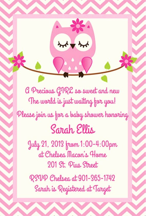 Owl Template for Baby Shower Luxury Pink Owl Baby Shower Invitation