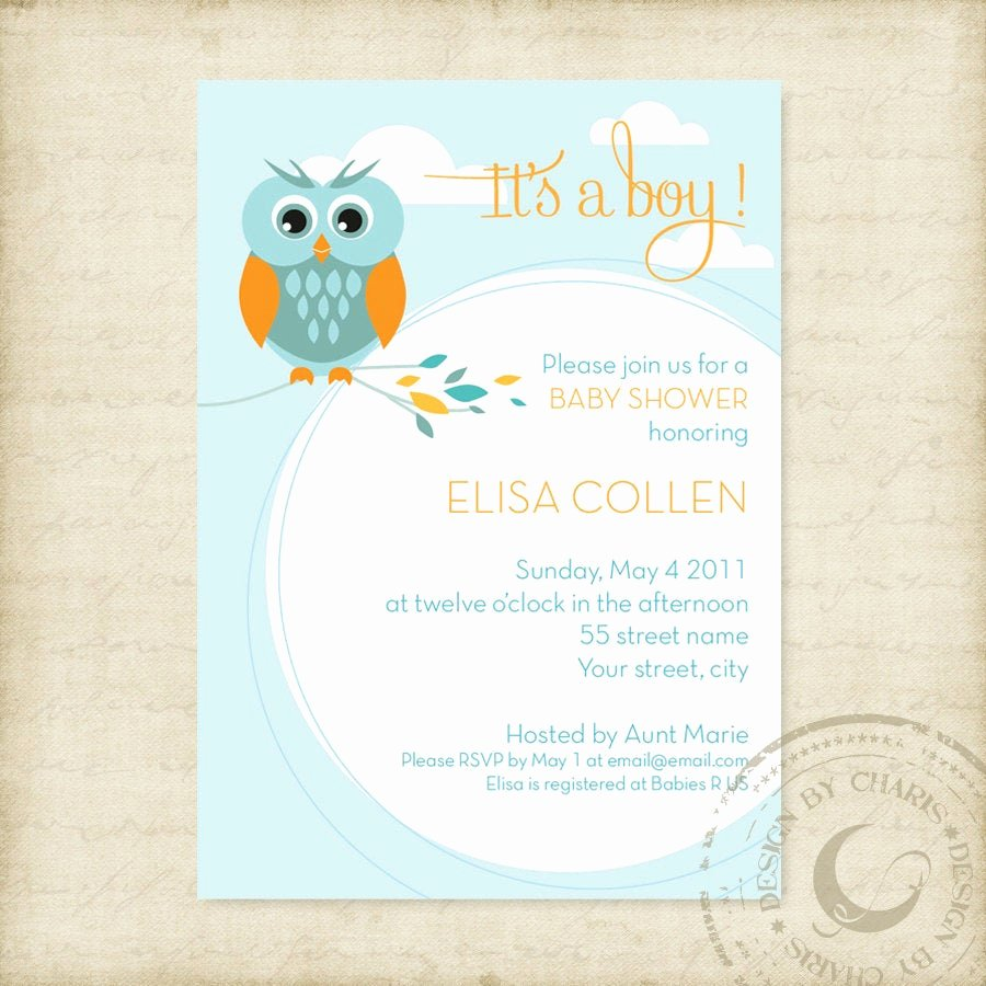 Owl Template for Baby Shower New Baby Shower Invitation Template Owl theme by