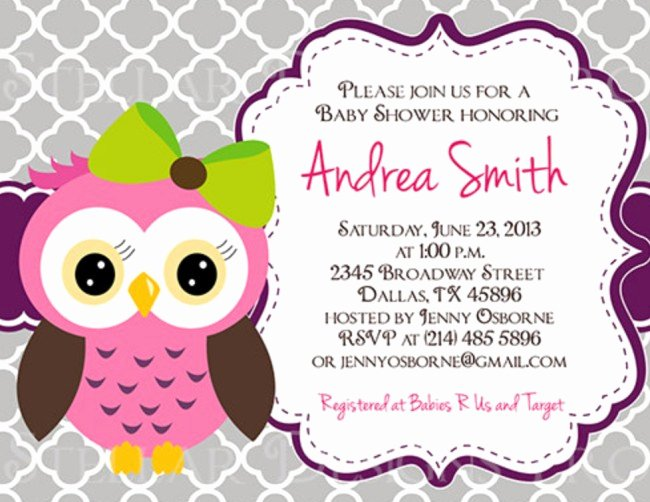 Owl Template for Baby Shower New Owl Baby Shower Invitation On Etsy