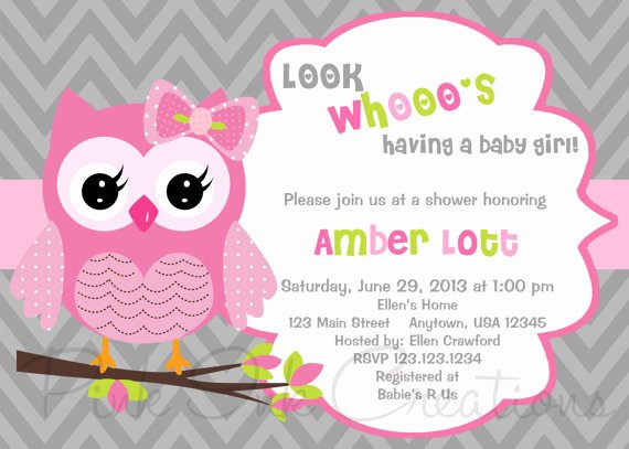 Owl Template for Baby Shower Unique Owl Birthday Invitation Pink Gray Owl Baby Por