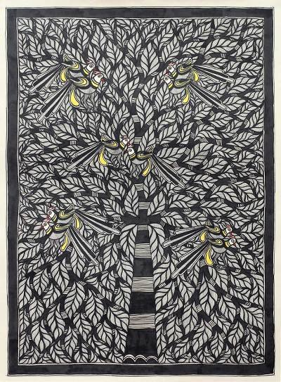 Paintings Black and White Awesome original Black and White Indian Madhubani Painting On