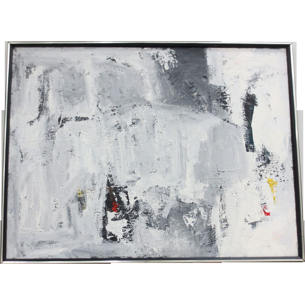 Paintings Black and White Awesome Vintage Black & White Abstract Oil Painting From Antique