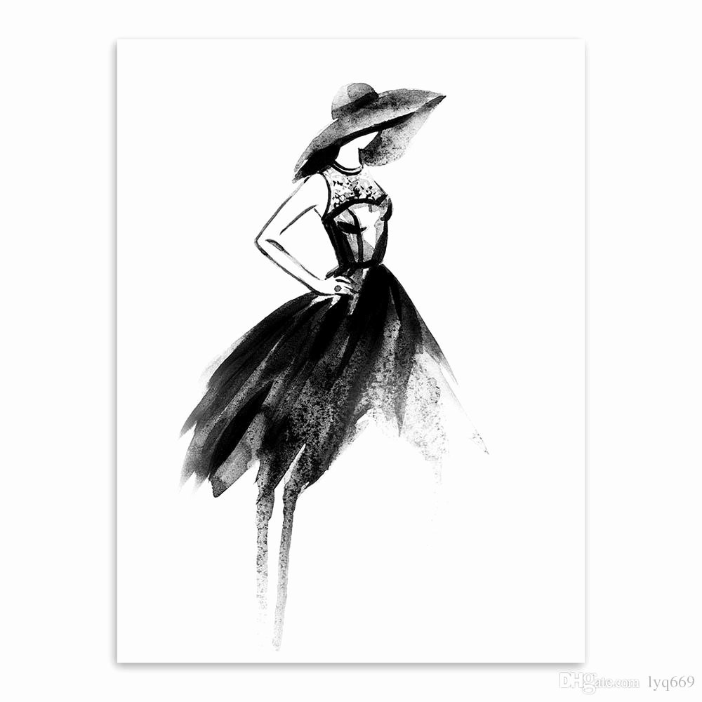Paintings Black and White Beautiful 2018 Modern Decoration nordic Black White Fashion Model