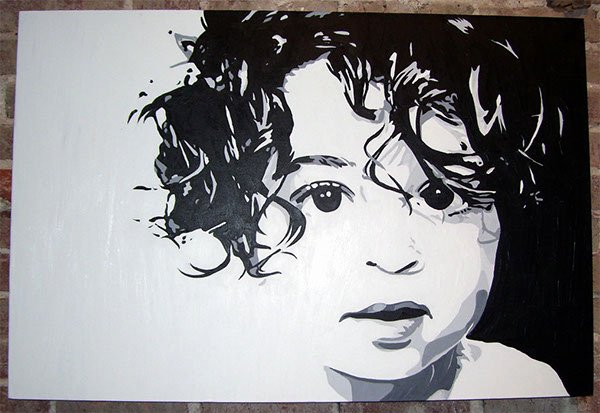 "Paintings Black and White Beautiful Curly Acrylic Painting 24"" X 36"" On Behance"