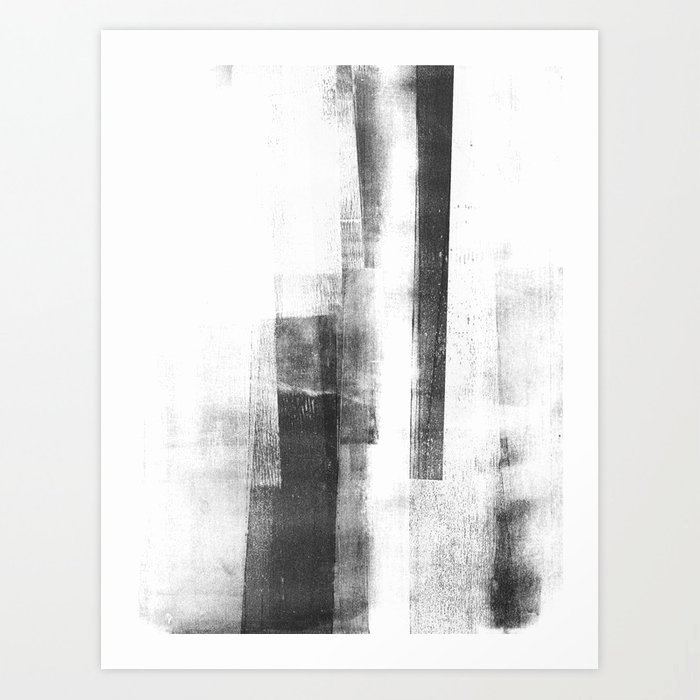 Paintings Black and White Elegant Black and White Minimalist Geometric Abstract Painting