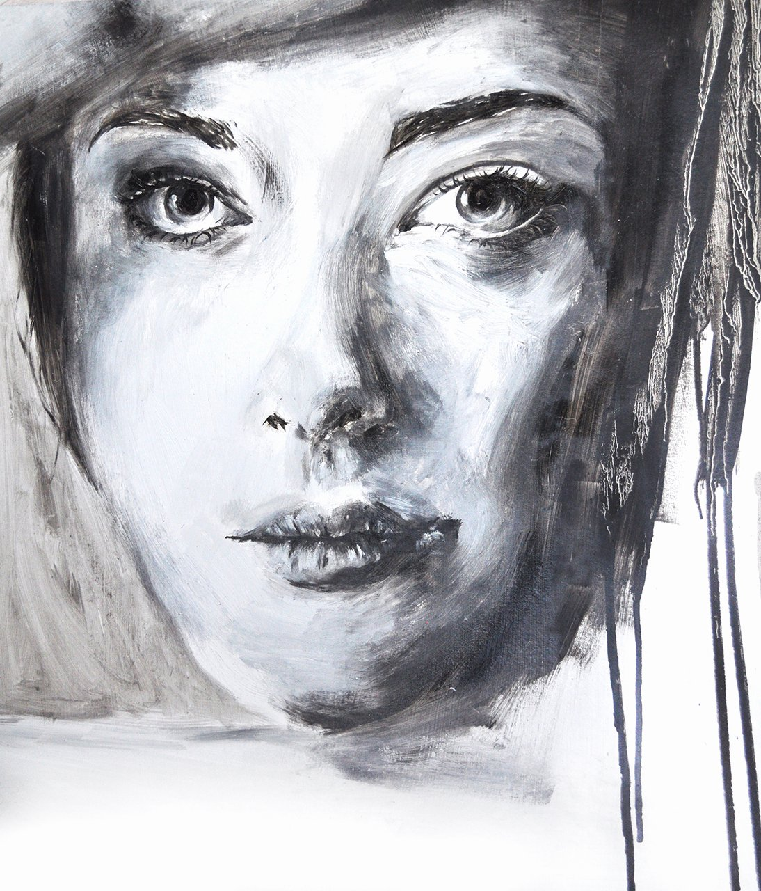 Paintings Black and White Elegant Oil Painting Black White Portrait Candid Wedding