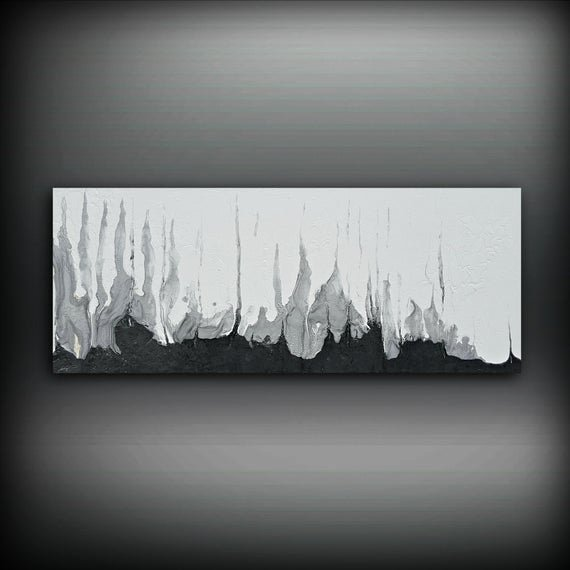 Paintings Black and White Lovely Black and White Silver Painting 16 X 40 Acrylic