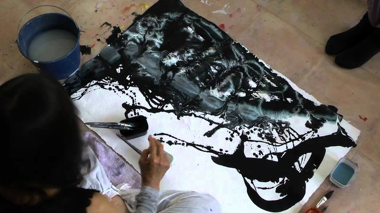 Paintings Black and White Unique Meera Black and White Painting Demo