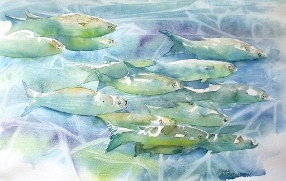 Paintings Of Fish Underwater Best Of Underwater Fish original Watercolor Painting