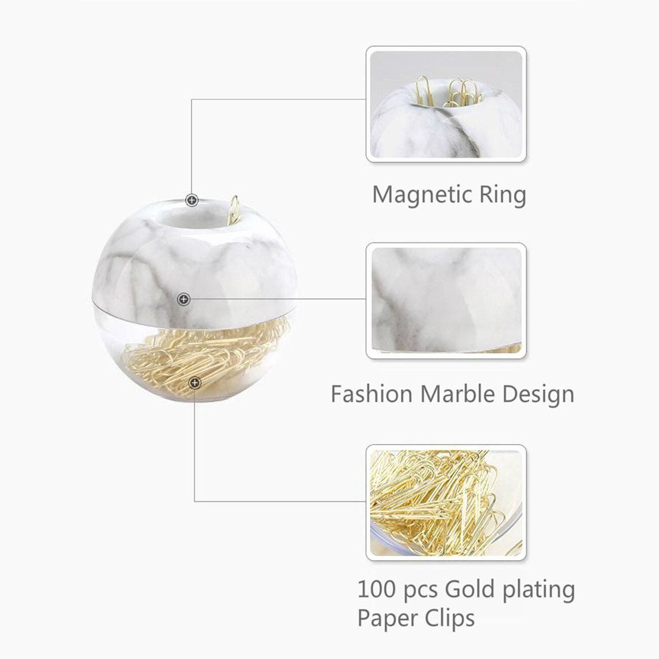 Paper Clip Holder Magnetic Beautiful Gold Paper Clips In Elegant Magnetic Marble White Clip