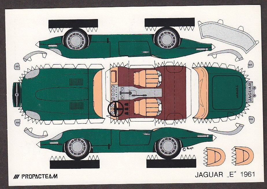 Paper Cut Out Cars Best Of X4643 Jaguar 1961 Auto Cut Out Postcard Propacteam Mini