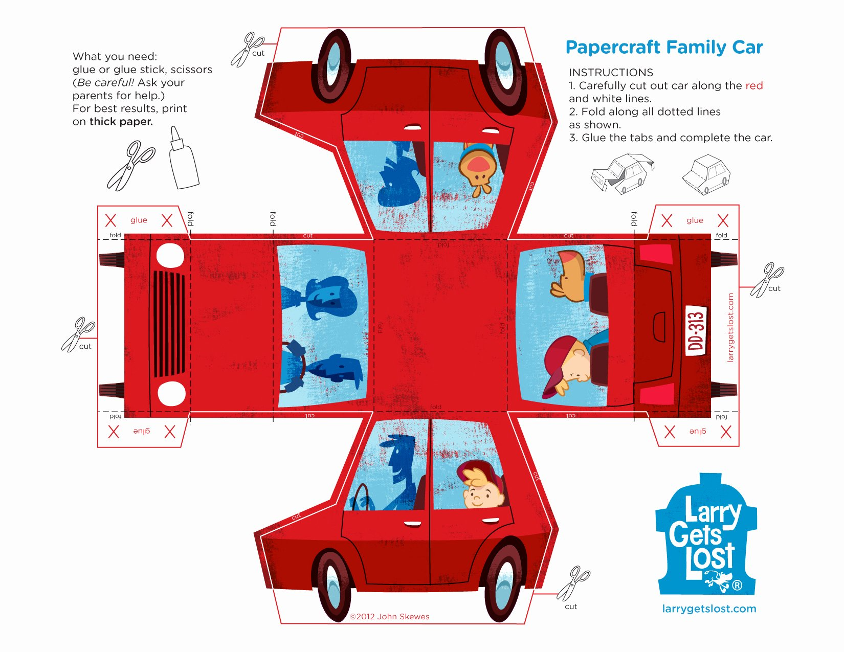 Paper Cut Out Cars Luxury Larry Papercraft Car