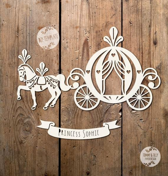 Paper Cutting Designs Template Fresh Princess Carriage Svg Pdf Papercutting Vinyl Template