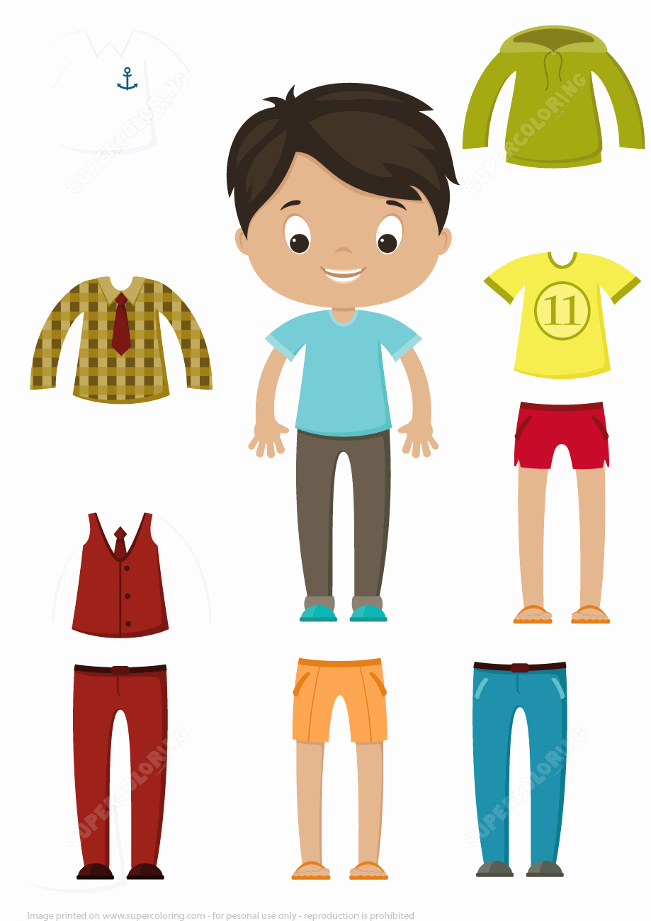 Paper Doll Cut Outs Awesome Cut Out Boy Paper Doll Clothes Set
