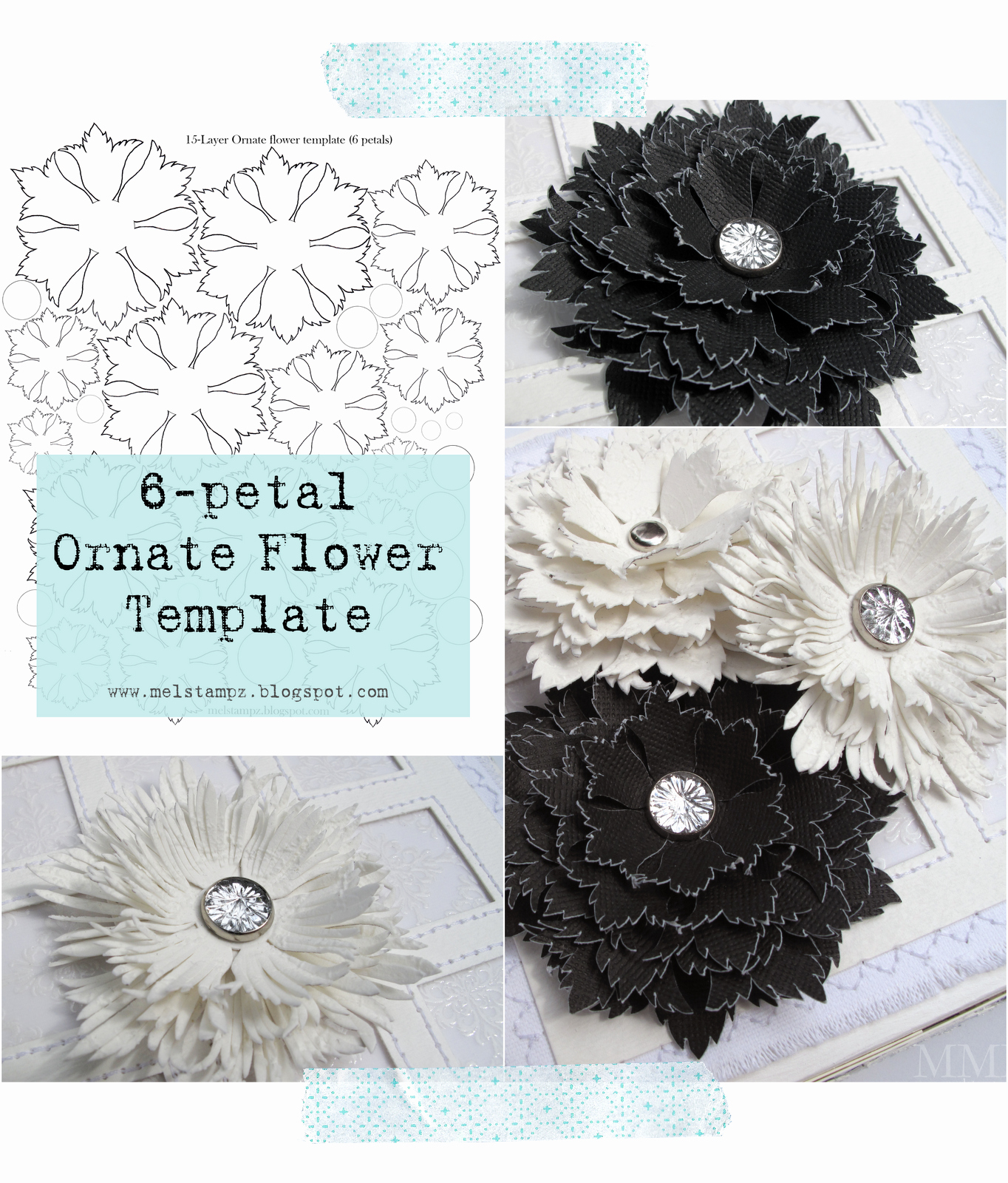Paper Flower Templates to Print Fresh Mel Stampz 6 Petal ornate Flower Template