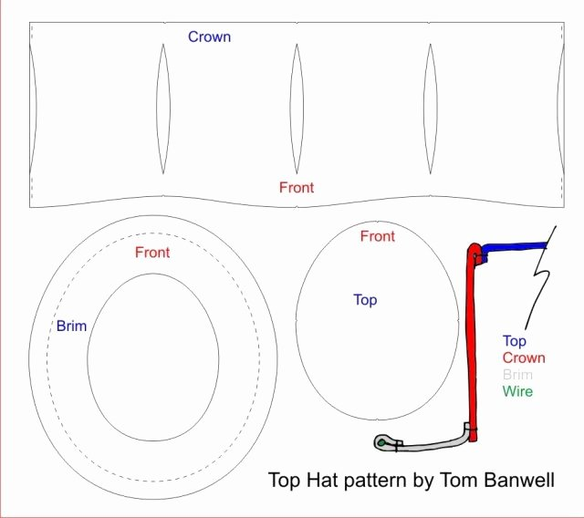 Paper top Hat Template Luxury Steampunk top Hat — tom Banwell Designs