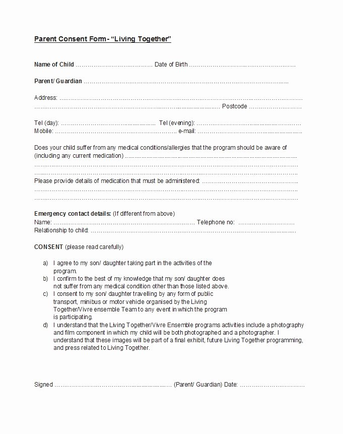 Parent Consent forms Template Inspirational 50 Printable Parental Consent form & Templates Template Lab