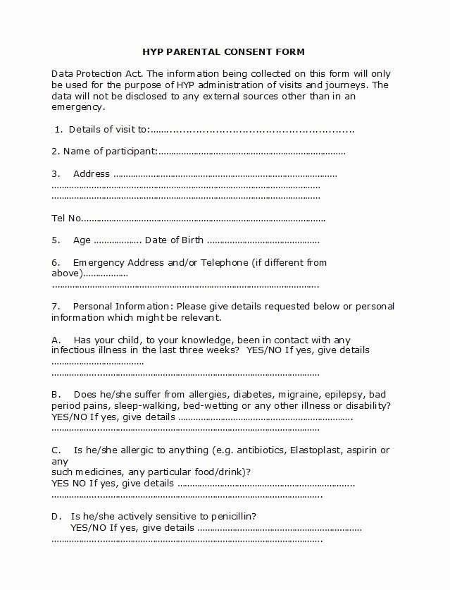 Parent Consent forms Template Lovely 50 Printable Parental Consent form & Templates Template Lab