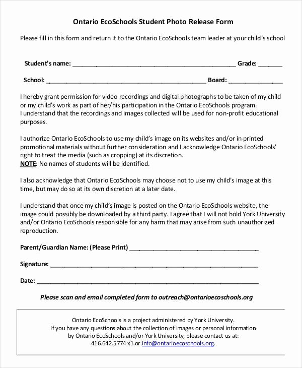 Parent Consent forms Template Unique Parental Release form