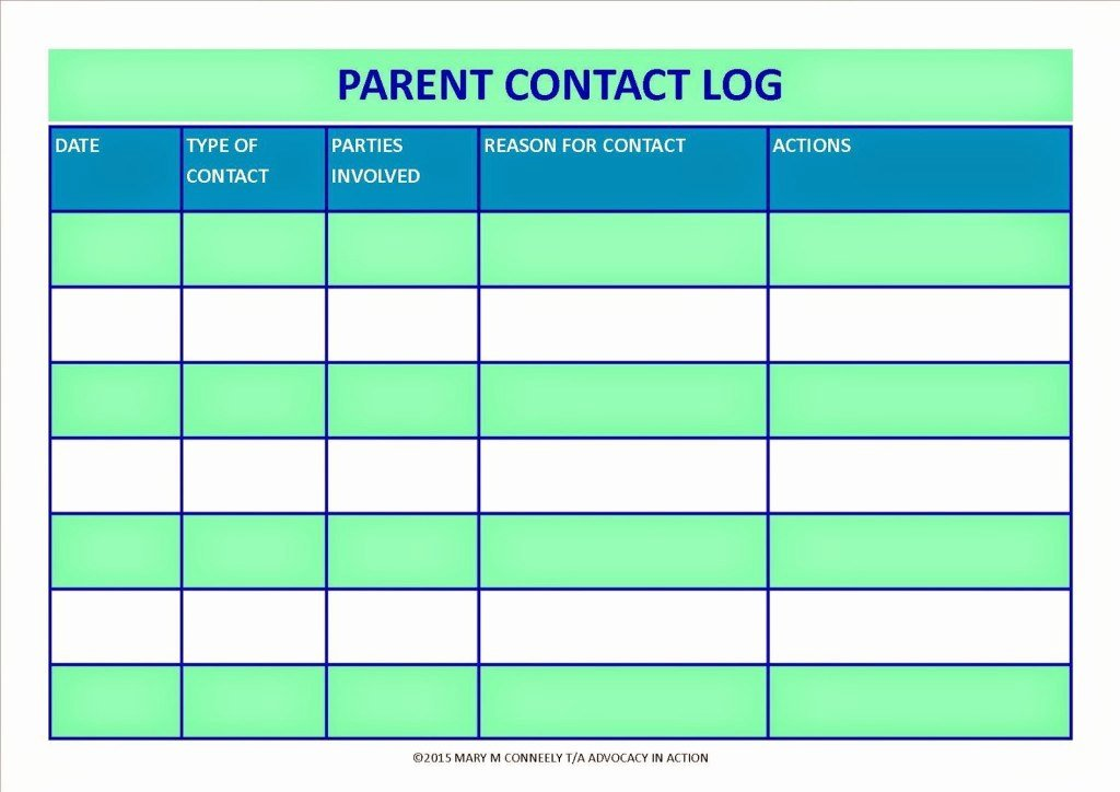 Parent Contact Log Awesome Parent Contact Log Template In Excel Excel Template