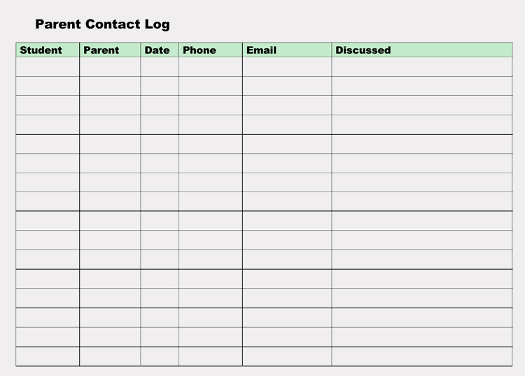 printable parent contact log sheet templates