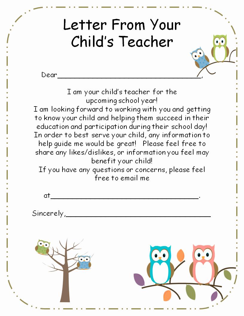 Parent Letter From Teacher Template Beautiful Letter From Teacher to Parents Editable
