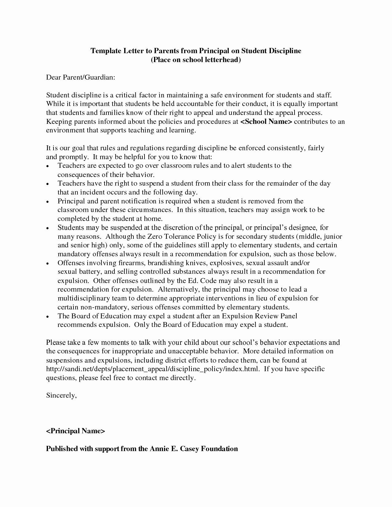 Parent Letter From Teacher Template Elegant Behavior Letter to Parents From Teacher Template