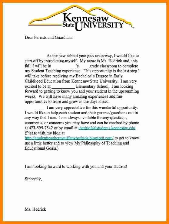 Parent Letter From Teacher Template Lovely 6 Teacher Introduction Letter to Parents Sample