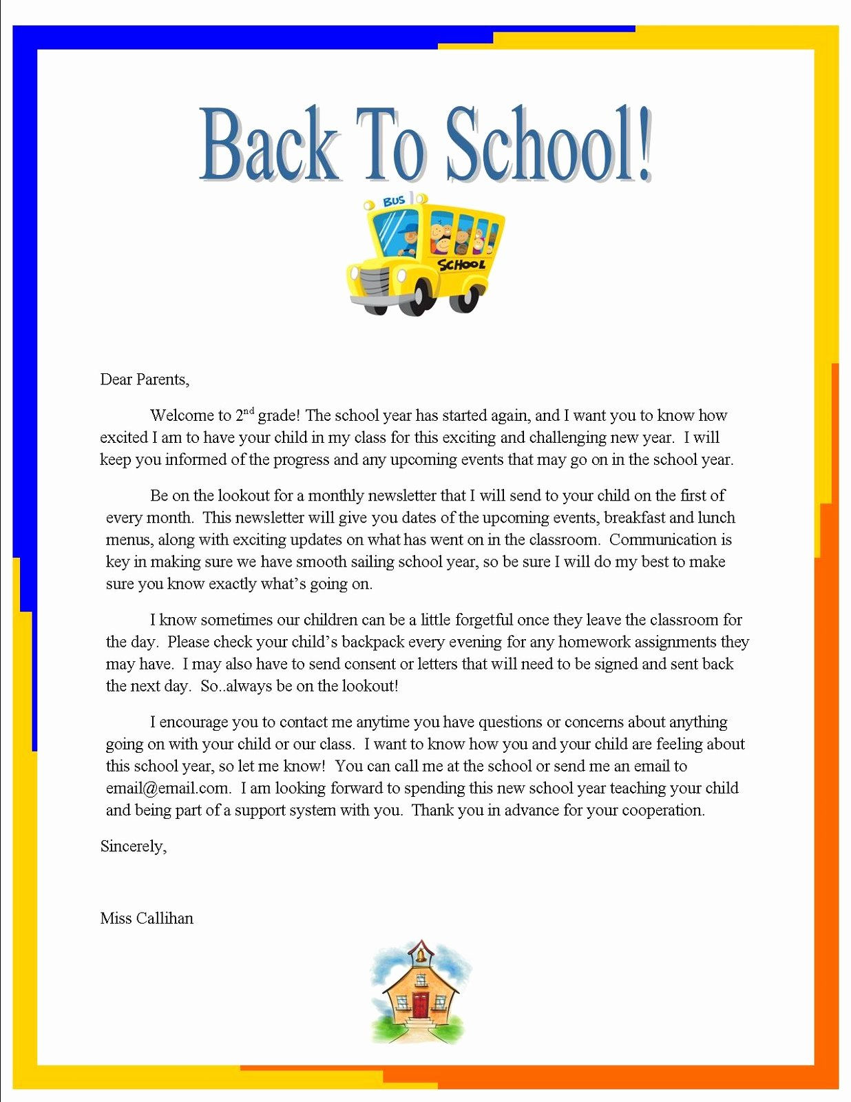 """Parent Letter From Teacher Template Unique Emily S Blog Week 3 """"back to School"""" Letter to Parents"""