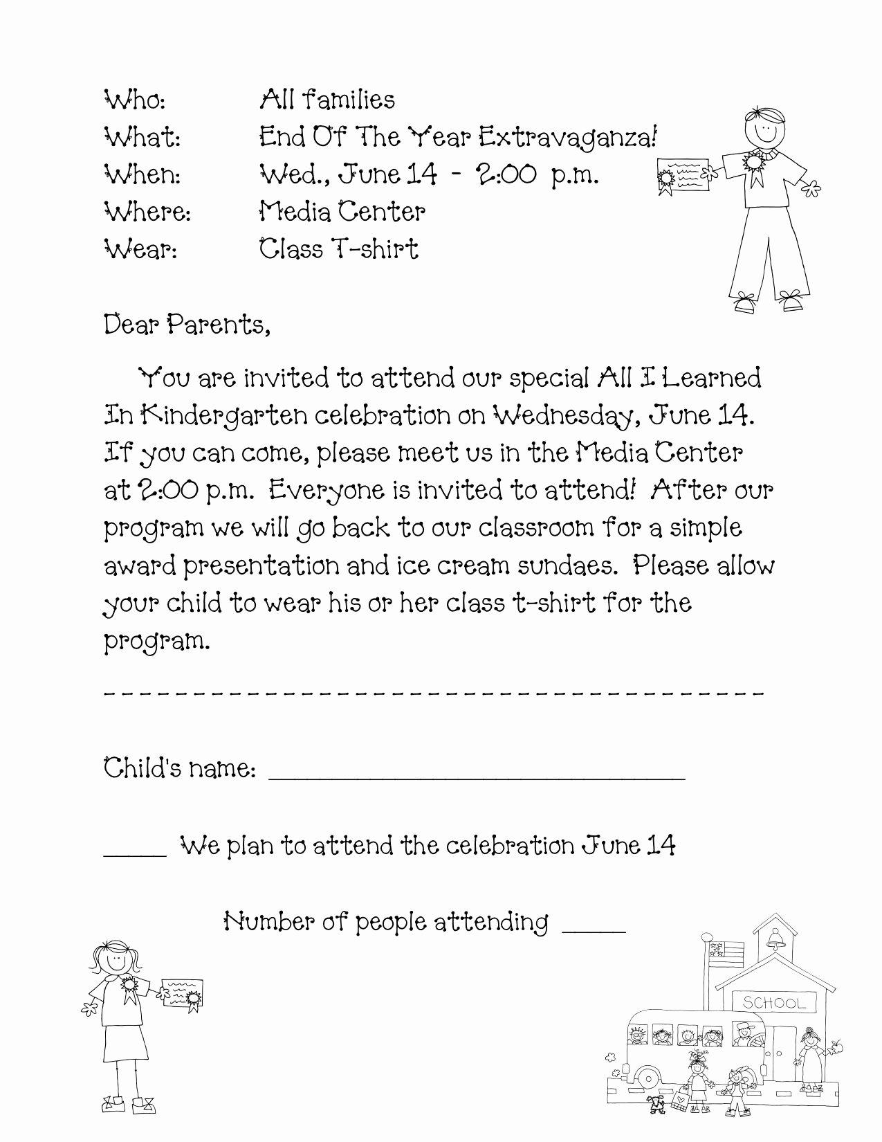 preschool wel e letter to parents from teacher template