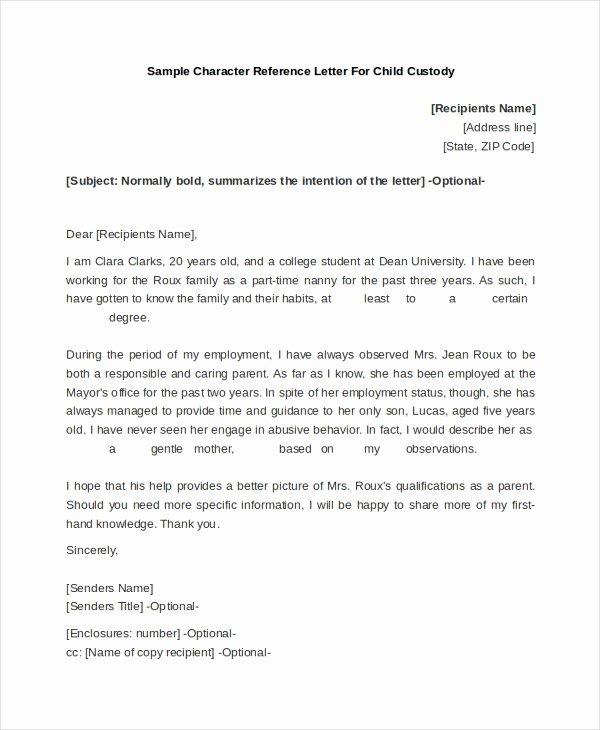 Parent Letter Of Recommendation Fresh Free 10 Sample Reference Letter