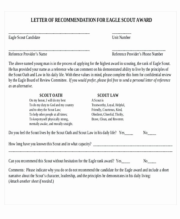 Parent Letter Of Recommendation Luxury Eagle Scout Letter Of Re Mendation Sample From Parents