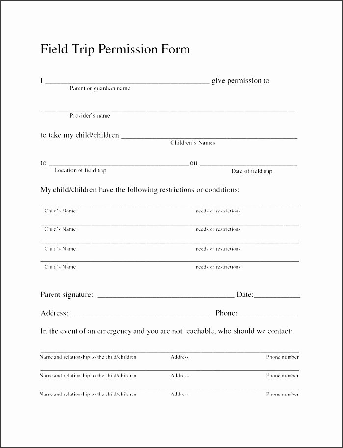 field trip permission slip template j3osb