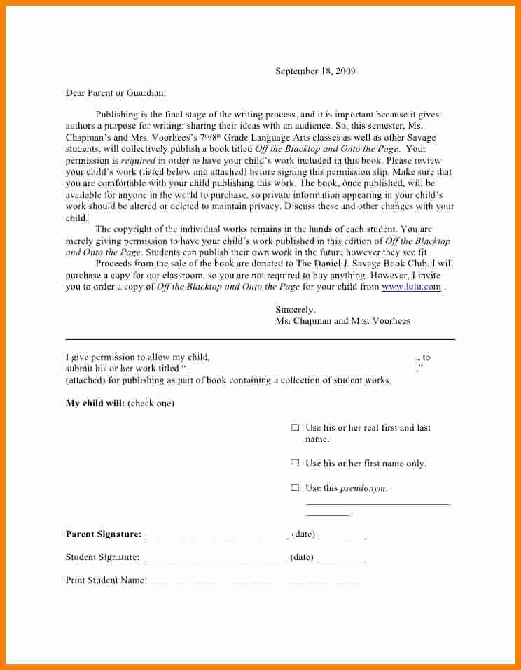 Parent Permission Slip Template Lovely 6 Parent Permission Slip