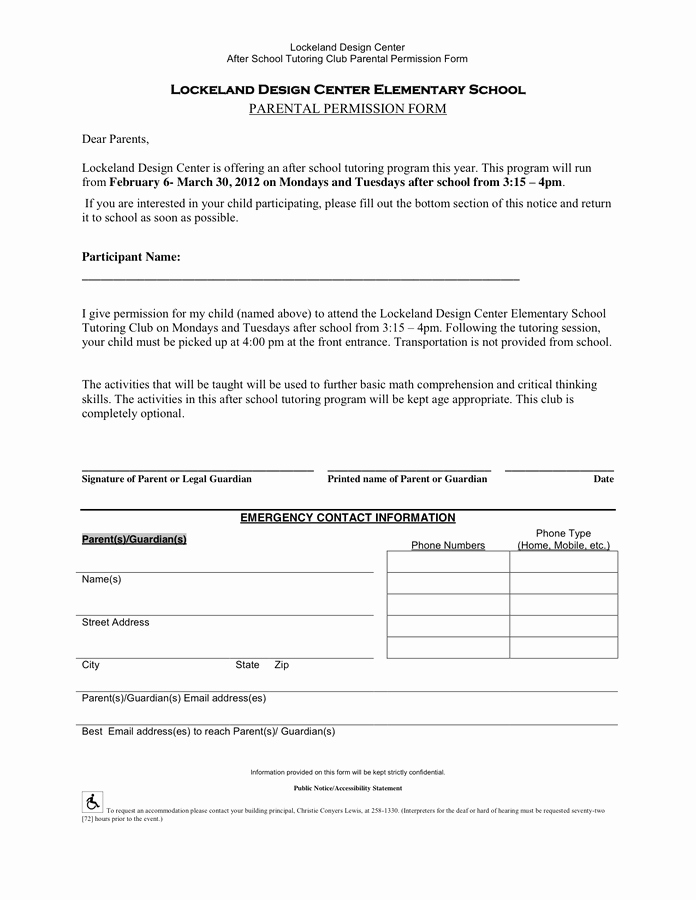 Parent Permission Slip Template Lovely Permission Slip Template In Word and Pdf formats