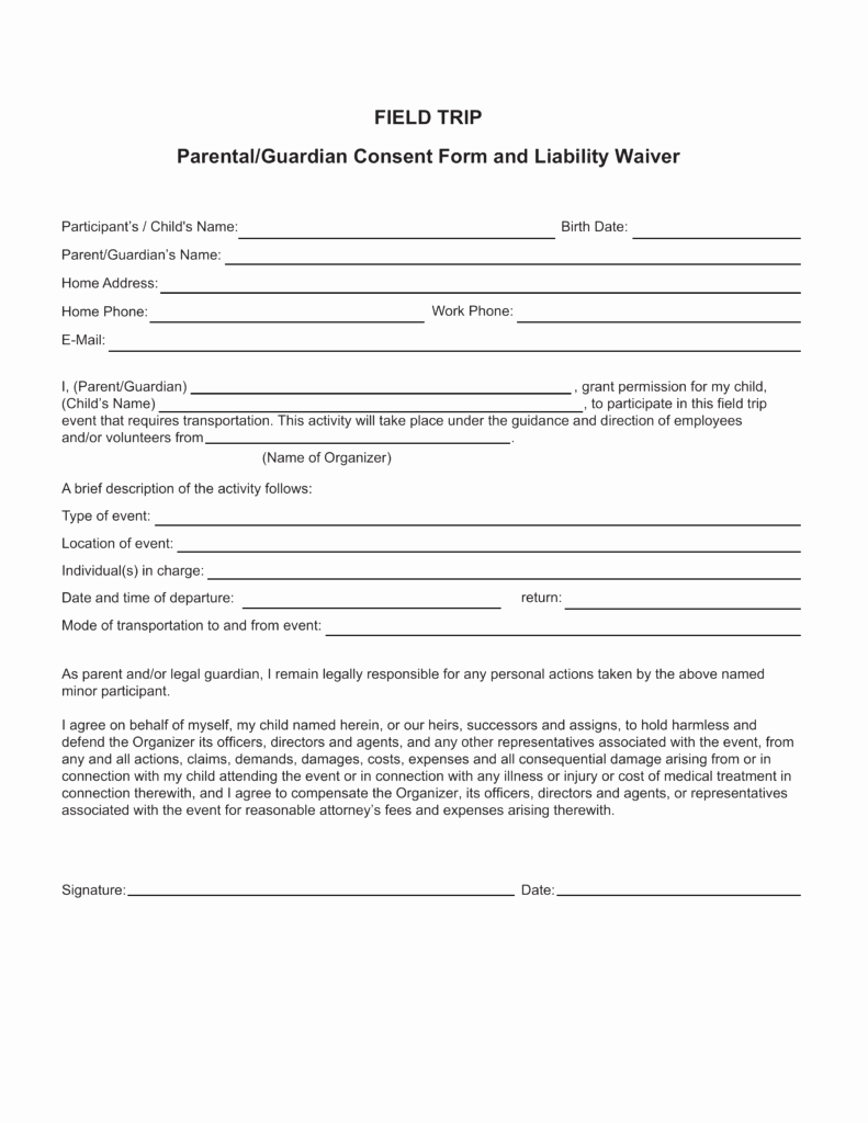 Parent Permission Slip Template Luxury Free Field Trip Consent form Pdf