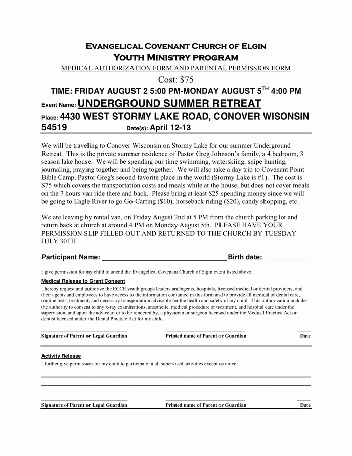 Parent Permission Slip Template Luxury Permission Slip Template In Word and Pdf formats