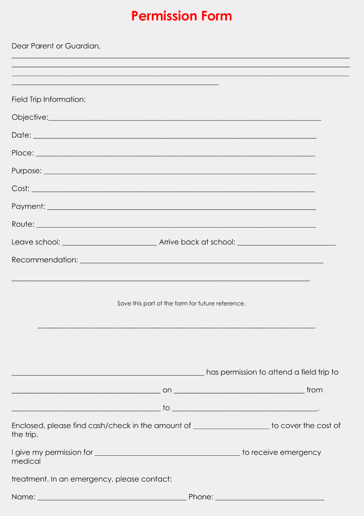 Parent Permission Slip Template New Blank Field Trip Permission Slip Templates & forms Word Pdf