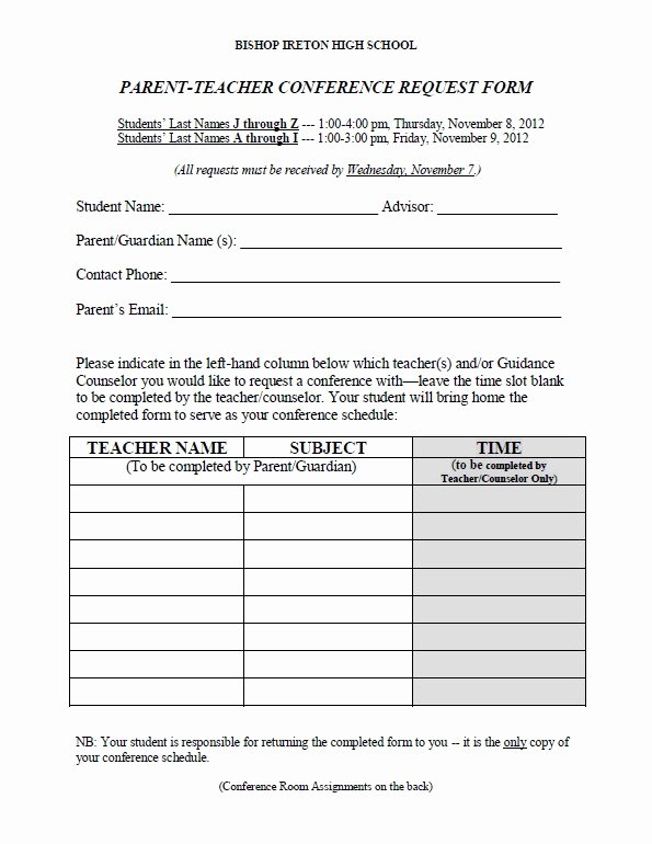 Parent Teacher Conference form Template Beautiful Download Fillable Pdf forms for Free