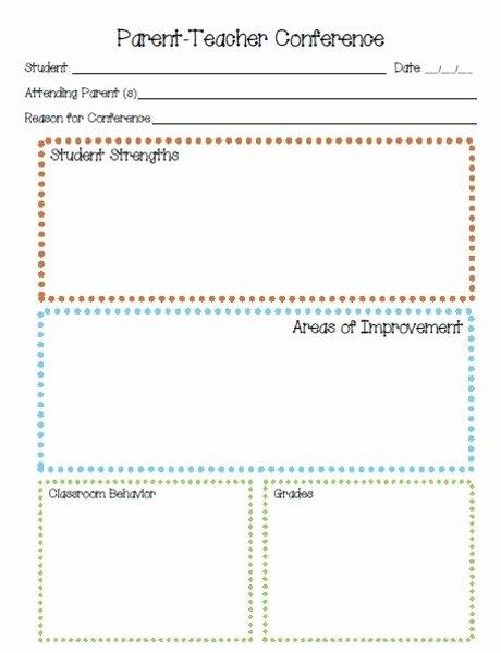 Parent Teacher Conference form Template Elegant Parent Teacher Conference Printables & Template for Pre K